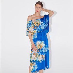 Zara blue floral print dress